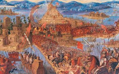 """""""Zdobycie Tenochtitlán przez wojska Cortésa"""" – hiszpański obraz olejny na desce zXVII w., autor nie"""