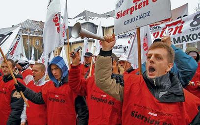 Protest górniczych związkowców z Sierpnia '80 w Katowicach