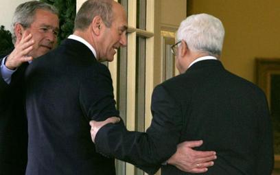 George W. Bush , Ehud Olmert i Mahmud Abbas
