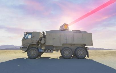 Koncepcyjna wizja systemu laserowego o mocy 100 kW montowanego na trzyosiowym samochodzie ciężarowym