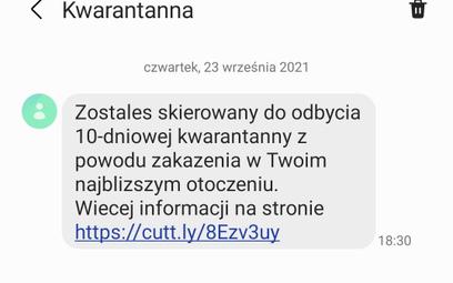 SMS od oszustów o rzekomym skierowaniu na kwarantannę
