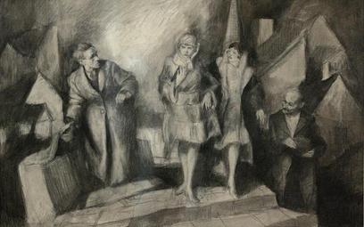 Bruno Schulz, Scena wieczorna, rysunek