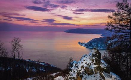 Panorama Bajkału u ujścia Angary z Kamienia Czerskiego. Polski naukowiec w latach 1877–1881 prowadzi