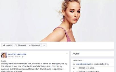 Jennifer Lawrence nie przeprosi za taniec na rurze