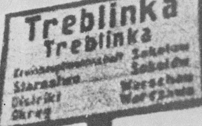 Tabliczka przy wjeździe do wsi Treblinka (w języku polskim i niemieckim)