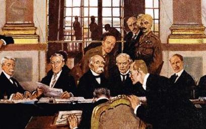 Podpisanie traktatu wSali Lustrzanej pałacu wersalskiego, 28 czerwca 1919 r. Traktat wersalski, koń