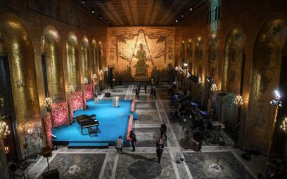 Przygotowanie do uroczystości przyznania Nagród Nobla w Sztokholmie w 2020 roku
