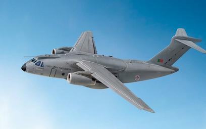 Wizja samolotu Embraer KC-390 w barwach lotnictwa Portugalii. Rys./Embraer.