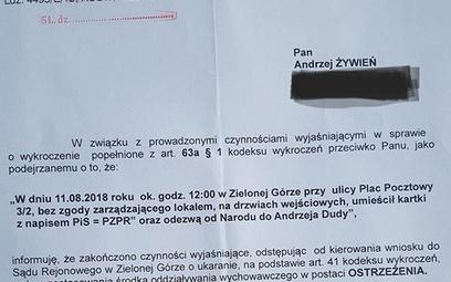 """Bez kary za naklejkę """"PiS=PZPR"""""""