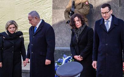 Premier Izraela Benjamin Netanjahu z żoną Sarą oraz szef polskiego rządu Mateusz Morawiecki z żoną I