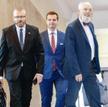 Grzegorz Braun (na zdjęciu pierwszy z lewej, z Jakubem Kuleszą i Januszem Korwinem-Mikke) po kontrow