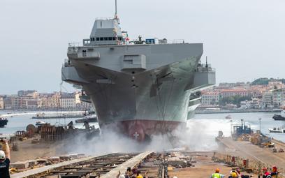 Wodowanie wielozadaniowego okrętu desantowego Trieste. Fot./ Fincantieri.
