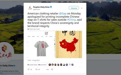 Firma przeprasza Chiny za brak Tajwanu na koszulce