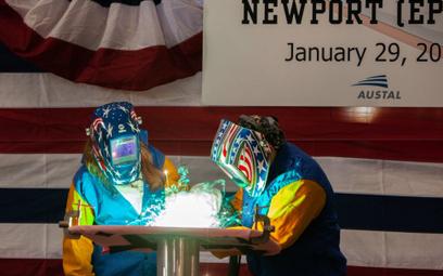 Uroczystość inauguracji budowy szybkiego transportowca USNS Newport. Fot.  Austal.