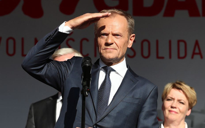 Donald Tusk 4 czerwca 2019 r. w Gdańsku. Po tym wystąpieniu pytań o jego plany jeszcze przybyło