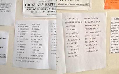 Lista pacjentów do lekarza w jednym z gabinetów po wprowadzeniu RODO. Każdy pacjent otrzymuje pseudo