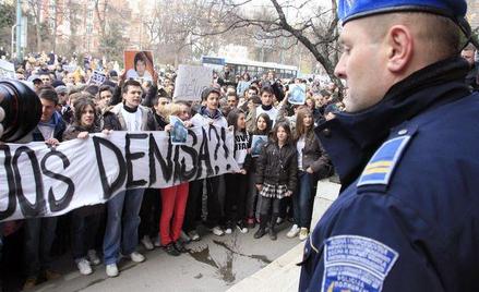 Demonstracja Serbów w Sarajewie w Bośni i Hercegowinie