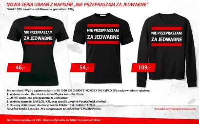 Takie koszulki promuje były ksiądz Jacek Międlar