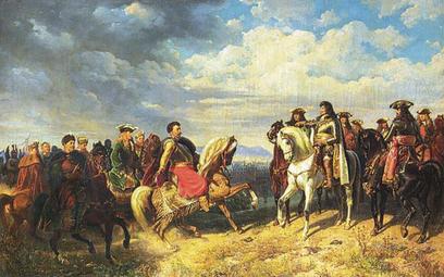 """?Artur Grottger, """"Spotkanie Jana III Sobieskiego z cesarzem Leopoldem I pod Schwechat"""" (1859 r.)"""