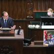 Minister spraw wewnętrznych i administracji Mariusz Kamiński podczas posiedzenia Sejmu, na którym ro