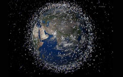 Wizualizacja kosmicznych odpadów (w zwiększonej skali)
