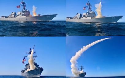 Sekwencja odpalenia pocisku manewrującego Tomahawk Block V z wyrzutni niszczyciela rakietowego USS C
