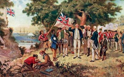 Kapitan James Cook na wybrzeżu Nowej Południowej Walii, którą przyłączył do korony brytyjskiej
