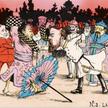 """""""Zapaśnicy"""" – satyryczna interpretacja wojny rosyjsko-japońskiej, 1905 r. Na pierwszym planie: cesar"""