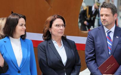 Liderka białoruskiej opozycji Swiatłana Cichanouska, wicemarszałek Sejmu Małgorzata Kidawa-Błońska i
