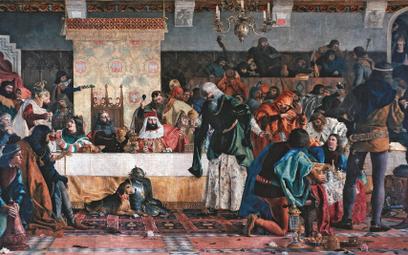 """""""Uczta u Wierzynka"""", obraz Bronisława Abramowicza z 1876 r. Przyjęcie zorganizowano w Krakowie przez"""