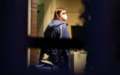 Kryscina Cimanouska w poniedziałek przed ambasadą Polski w Tokio