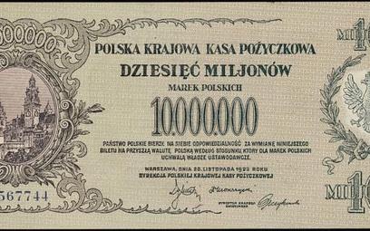 3,5 tys. zł kosztuje banknot z 1923 r. o nominale 10 mln marek polskich.