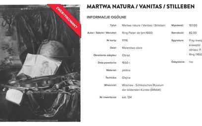 Obraz de Ringa znajduje się w polskiej bazie dzieł utraconych w czasie wojny.