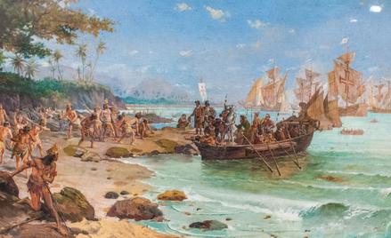 Przybycie do brzegów Brazylii Pedra Álvaresa Cabrala i jego ludzi według artystycznej wizji Oscara P