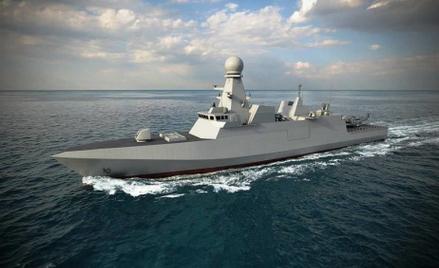 Wizja fregaty typu Al Zubarah dla Marynarki Wojennej Kataru. Rys./Fincantieri.