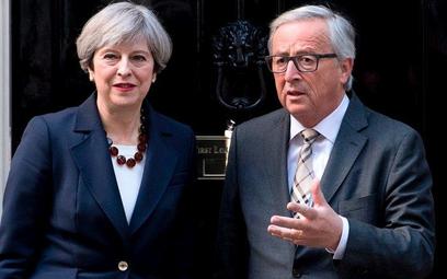 Theresa May i Jean-Claude Juncker na Downing Street 10.