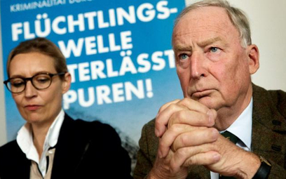 Alexander Gauland, lider AfD, (nazdjęciu zpartyjną koleżanką Alice Weidel) apeluje do Niemców, by