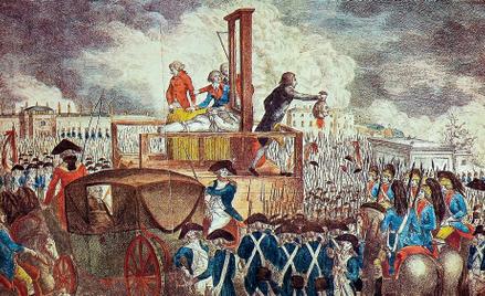 Rewolucja Francuska. Egzekucja Ludwika XVI, miedzioryt grawerowany przez Georga Heinricha Sievekinga