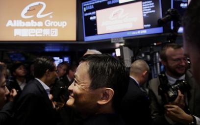 Prezes Alibaby Jack Ma podczas ceremonii wejścia spółki na giełdę w Nowym Jorku w 2013 roku