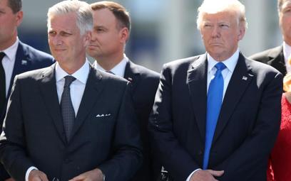 Król Filip w towarzystwie Donalda Trumpa