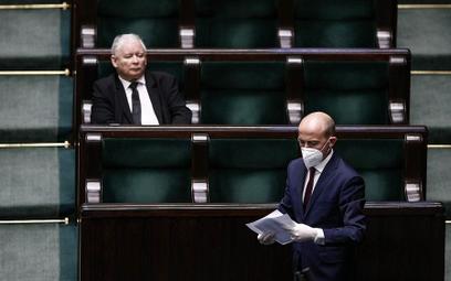 Prezes PiS Jarosław Kaczyński i przewodniczący PO Borys Budka