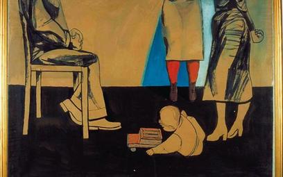 """Andrzej Wróblewski, """"Kitek i ludzie"""", 1956 – 1957, gwasz, papier, 105 x 135 cm,"""