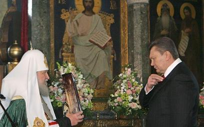 Patriarcha Cyryl i ukraiński prezydent Wiktor Janukowycz