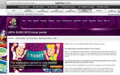 Zrzut ekranowy ze strony z fałszywymi biletami zrobiony o godzinie 14. Strona do złudzenia imituje p