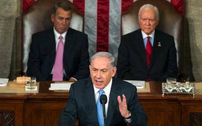 Premier Beniamin Netanjahu w czasie niezwykle emocjonalnego przemówienia w Kongresie