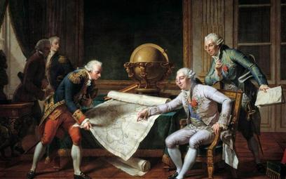 La Perouse i Ludwik XVI omawiają trasę wyprawy. Obraz Nicolas-Andre Monsiau z 1877