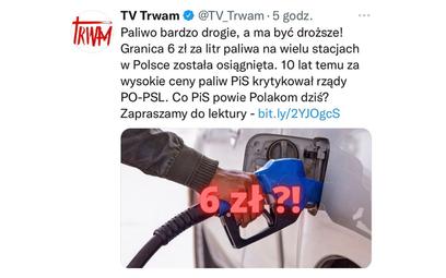 TV Trwam przypomniała słowa Kaczyńskiego i Szydło o cenach paliw. Materiał usunięto