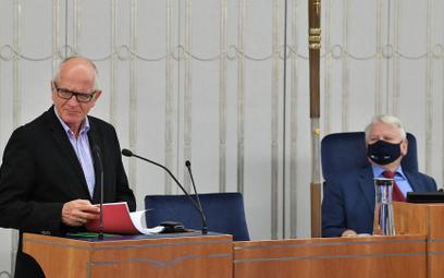Przewodniczący Rady Mediów Narodowych Krzysztof Czabański i wicemarszałek Senatu Bogdan Borusewicz