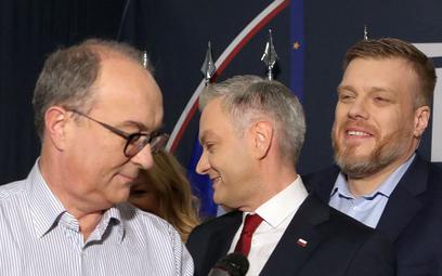 Liderzy trzech lewicowych formacji - Włodzimierz Czarzasty, Robert Biedroń i Adrian Zandberg