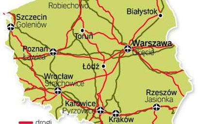 Mapa transeuropejskiej sieci transportowej w Polsce